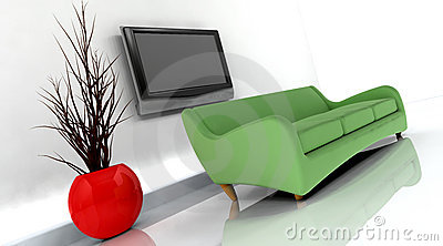 3d render of sofa and tv