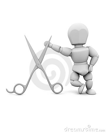 Man leaning on a pair of scissors