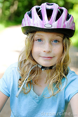 Girl wearing a bike helemt