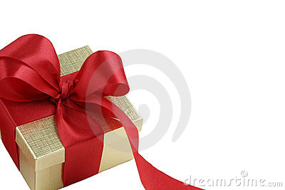 Gold Gift Box with Red Satin Bow