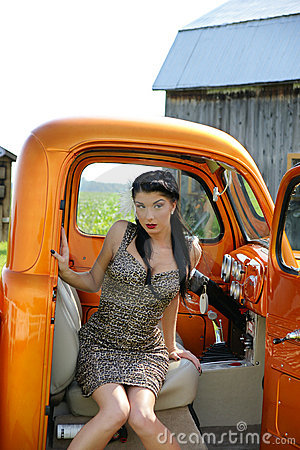 Model sitting in the truck