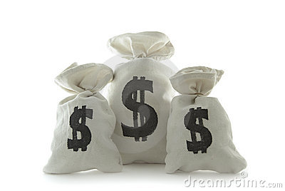 Three bags with money