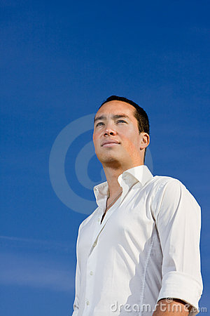 Smart handsome asian man looking forward