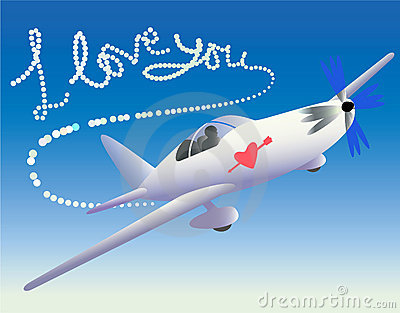 Plane with love trace.