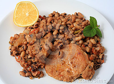 Pork and beans meal horizontal