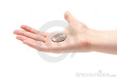 Half dollar on a palm