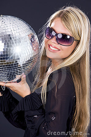 Party girl with disco ball
