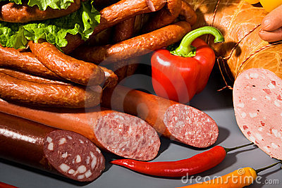 Sausages, ham and peppers
