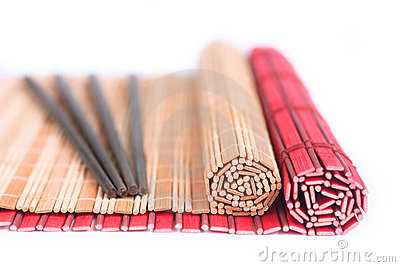 Chopsticks and bamboo mats for asian food