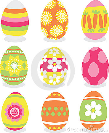 Easter eggs icon set