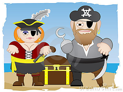 Pirates stand on beach
