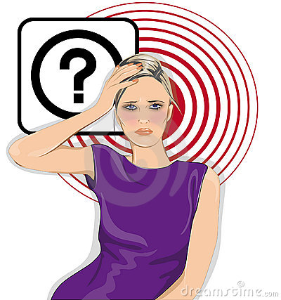 Woman with question