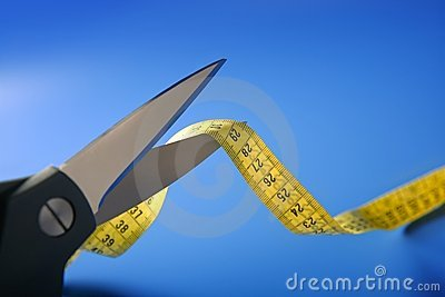 Taylor centimeter tape meter and scissors cutting
