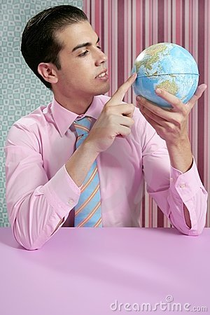 Businessman retro and global world map