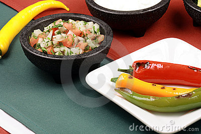Hot grilled peppers