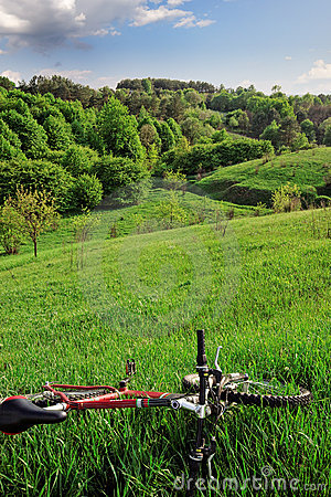 Bike with hills landscape