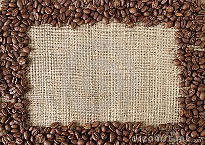 Coffee bean on burlap frame