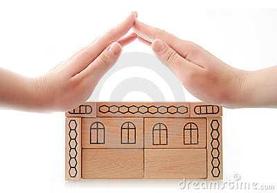 Woman hands making roof