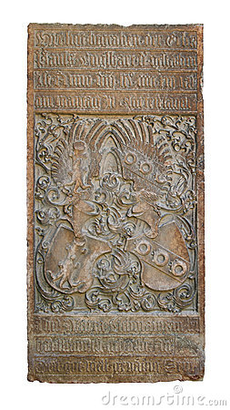 Medieval bas-relief with alchemy symbols