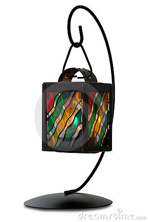 Lantern with burning candle