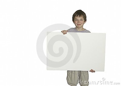 Young boy holding blank sign
