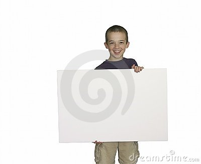 Youth holding a blank sign