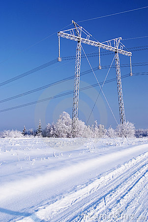 Power line in ice. Winter