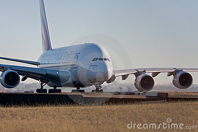 Emirates Airlines A380 on the runway