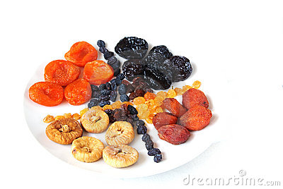Dried fruits.  Isolated on white background