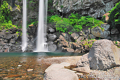 Low shot of majestic waterfall
