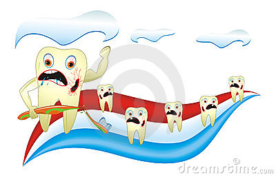 Angry Unhealthy Teeth With Toothbrush