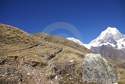 Hikers on trail in high Andes