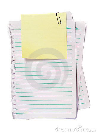 Yellow Memo with paper clip