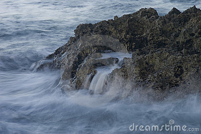 Crashing waves on coral