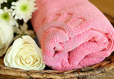 towel and flowers - beauty treatment