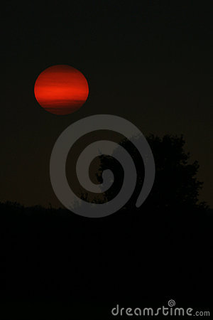 Red moon in a black sky
