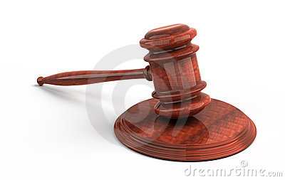 Wooden gavel from the court