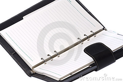 Black Leather Bound Notebook Isolated