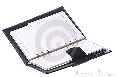 Black Leather Bound Diary Isolated