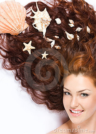 With shells in long hair