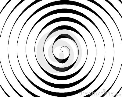 Detail of a black spiral on white