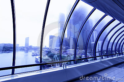 Skyscrapers beyond window