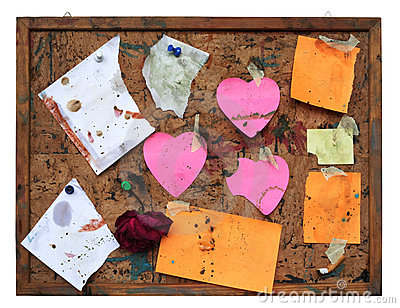 Grungy pinboard, worn and dirty, free copy space