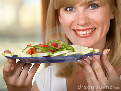 The girl with salad