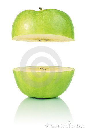 Green cut apple