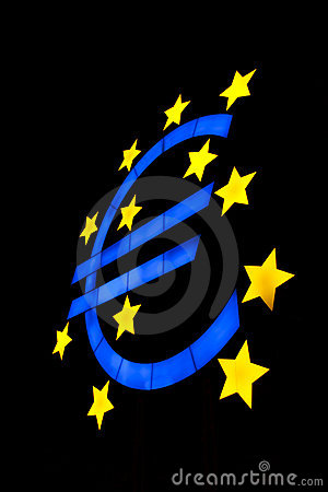 Euro symbol isolated on black