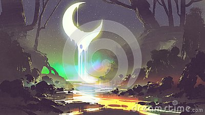 Melting moon creates a glowing river