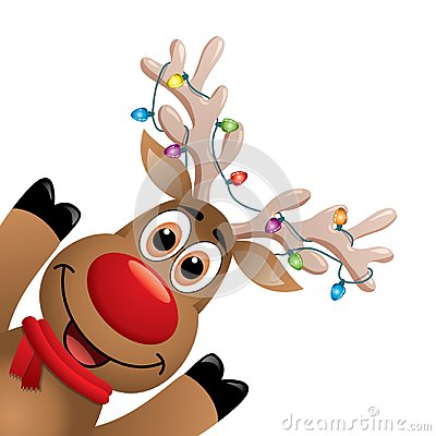 Xmas drawing of funny red nosed reindeer. vector