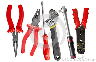 Tool set of wrench, adjustable spanner, pliers and screwdriver
