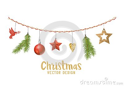 Hanging Christmas decorations composition